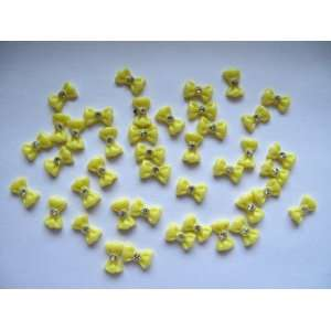 Nail Art 3d 40 Pieces Yellow Bow/Rhinestone for Nails, Cellphones 1
