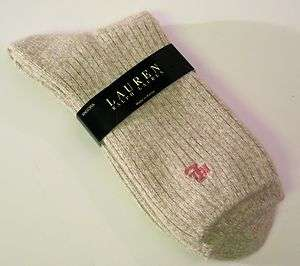 Ralph Lauren Ladies Socks Angora Wool Blend Light Heathered Beige