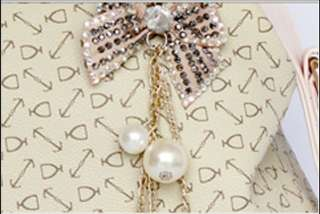 Fashion Korean Style Retro Printing Women Handbag Pearl Pendant
