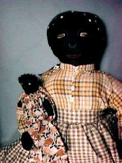 15 Black Cloth Mammy Doll with Black Baby From Georgia 1930s