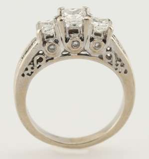 14k White Gold .70ct Princess Cut Diamond Three Stone Engagement Ring