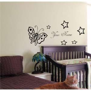 BABY NAME TINKERBELL FAIRY WALL STICKER BOY GIRL ROOM 03 Home