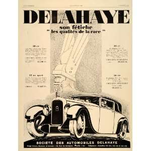 1929 Ad Delahaye Cars Automobiles French Paris Art Deco