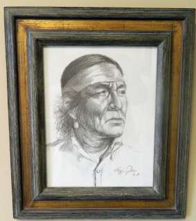Roy Hampton WESTERN ART Indian Male Chief BLACK & WHITE PRINT Artist
