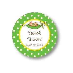 Polka Dot Pear Design   Round Stickers (Pea in a Pod