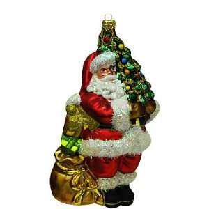 Christmas Tree Ornament   Santa Claus with Gift Bag and