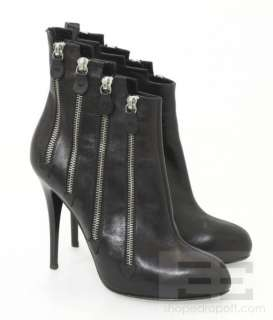 Giuseppe Zanotti Design Black Leather Zipper Trim Heel Booties Size 40