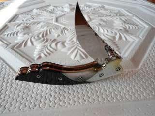 HANDMADE CUSTOM FOLDING KNIFE BUFFALO HORN PEARL MOP