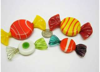 Murano Art GLASS Valentines Day Truffles Yellow Candy ORNAMENTS