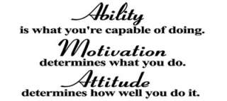 ATTITUDE ABILITY Vinyl Wall Quote Art Decal Sticker Inspirational