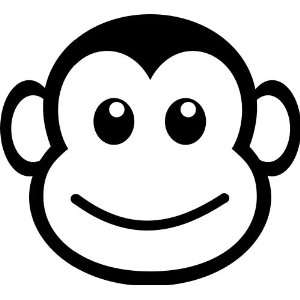 MONKEY FACE FUNNY   Vinyl Decal Sticker 5 WHITE