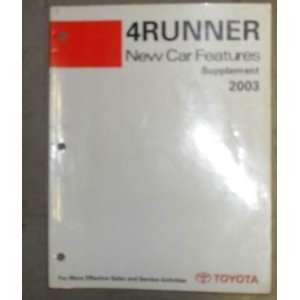 2003 Toyota 4Runner Features Service Manual Supplement toyota