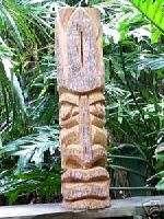 TIKI STATUE #102 Totem Pole Polynesian Wood Carving Art