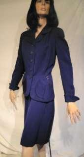 40s Vintage Navy Blue Tailored Gabardine Suit B40