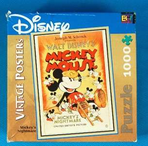 DISNEY MICKEY MOUSE VINTAGE POSTER PUZZLE MICKEYS NIGHTMARE