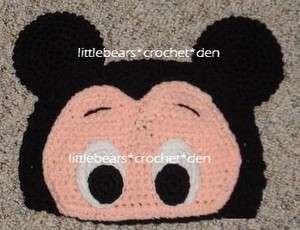 CUSTOM Crocheted MICKEY MOUSE EYES & EARS Beanie Hat