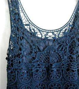 Navy Blue Crochet Lace Sleeveless Boho Tunic Shirt Blouse Top~16/18/XL