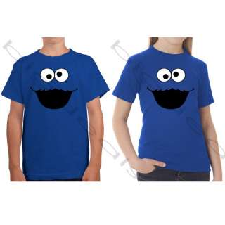 Cookie Monster Face Sesame Street T Shirt Boys Girls Cartoon Eye Mouth