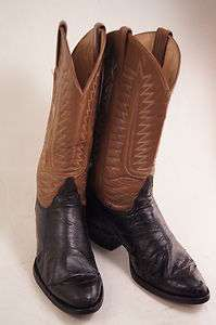 Tony Lama Black Brown Leather 8 D Mens Western Boots