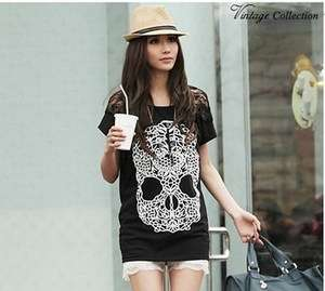 new Women Skull pattern loose tops T shirt 9061B