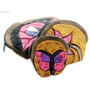 Butterfly and Flower Design Leather Change Purses