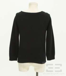 Jacobs Black Angora & Lambsool Velvet Bow Sweater, Size Medium