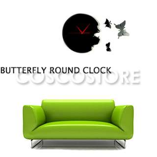 Butterfly Time Fly Wall Clock DIY Art Home Decor Black Charming High
