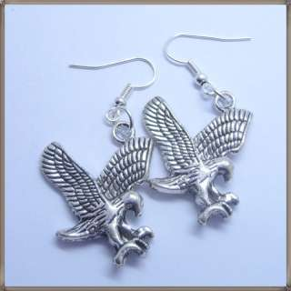 25MM Tibetan Silver Eagle Hawk Charm Bead Dangle Hook Earrings Free