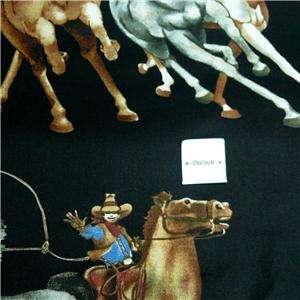 Maywood Cotton Fabric Cowboys & Indians Riding Horses, Black