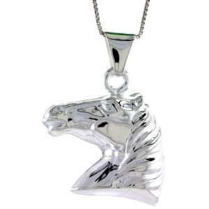 Sterling Silver Large Horse Head Pendant, Made in Italy. 1