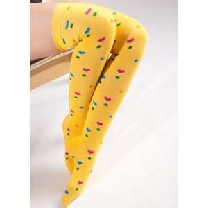 Multi Color Heart Yellow Thigh High Socks Size 9 11