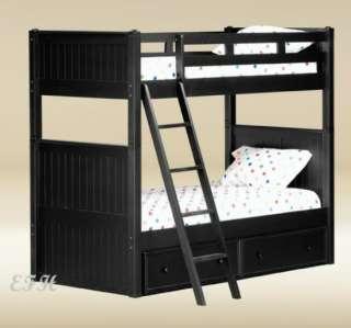 NEW BEAD BOARD STYLE BLACK FINISH WOOD TWIN BUNK BED