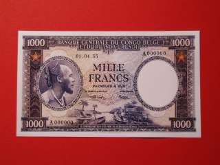 Reproduction Belgian Congo 1000 Francs 1955