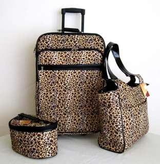 CarryOn 3 Pc Travel Set Bag Rolling Wheel Luggage Beauty Case Purse
