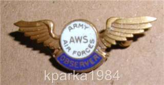 Army Air Forces Aircraft Warning Service (AWS) OBSERVER wings