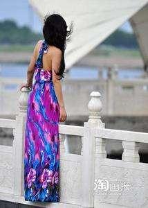Women Sexy Summer V Neck Long Maxi Dress Beach Cocktail Evening Dress