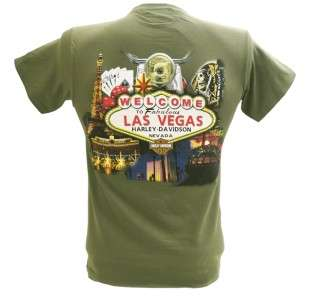 Harley Davidson Las Vegas Dealer Tee T Shirt GREEN MEDIUM #RKS