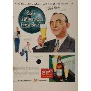1949 Ad Blatz Beer Enrico Hank Marino Bowling Bowler