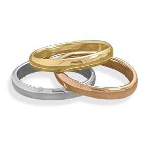 Sterling Silver, 14 Karat Gold Plate and Rose Gold Plate Triple Band