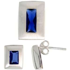 Slide (14mm tall) Set, w/ Emerald Cut Blue Sapphire colored CZ Stones