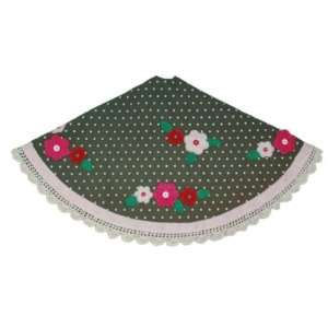 Hand Crafted 48 Christmas Tree Skirt Green w/ Polka Dots