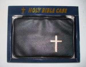 NEW BIBLE COVER CASE Zipper Black Pu LEATHER w/ CROSS R