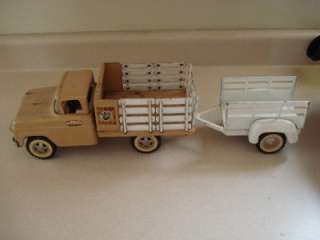 Vintage Tonka Toys Tonka Farms Pressed Steel Truck with Trailer
