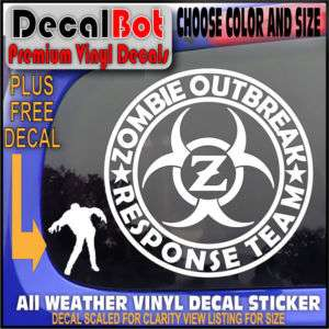 ZOMBIE OUTBREAK RESPONSE TEAM LOGO CAR DECAL STICKER Z