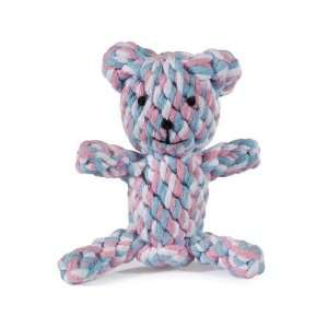 Pink & Blue Knotted Rope Teddy Bear Dog Toy Small 5