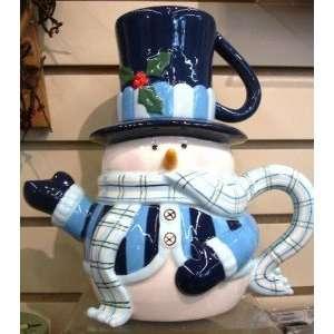 Blue Scarved Snowman Teapot and Mug Ceramic Christmas