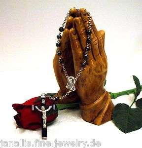 Black & Silver Sacred Heart of Jesus Car / Auto Rosary   Rosario