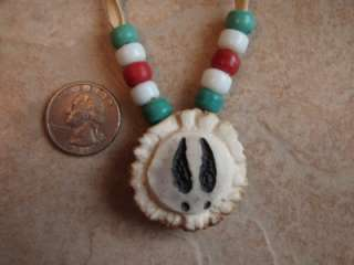 Deer Antler Choker Necklace Carved Wolf Deer Tracks Glass Pony Beads