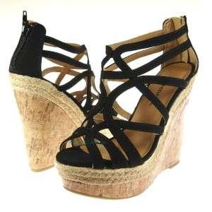 Sesma Black micro suede, espadrille/cork platform wedge sandal & bird