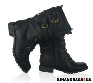 New Womens BLACK Comfort Winter Lace Up Wedge Buckle Boots   Tina